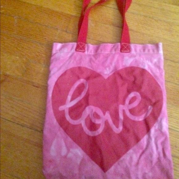 Handbags - Pink Red Cute Love Tote Bag